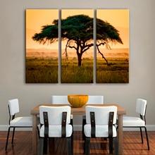 Drop Pengiriman Kanvas Lukisan untuk Ruang Tamu 3 Panel Wall Art Kanvas Pohon Dekorasi Rumah Gambar Dinding Modular untuk Kamar Tidur