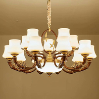 Classical Chandelier Meta Bamboo Led Lamp Glass 10 Heads Decor Hotel Duplex Staircase Living Room Home Lighting Suspension G645