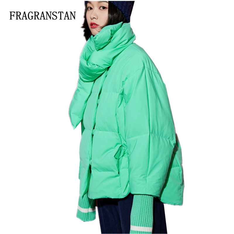 Fashion Solid Color Short Scarf Collar Thicken Warm Down Jacket Female New Deaign Casual Loose Pinkycolor