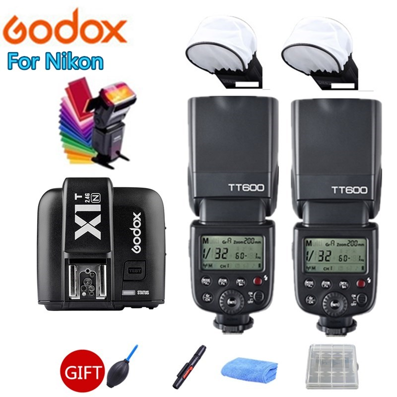 2x Godox TT600 TT600S 2.4G Wireless Camera Flash Speedlite + X1T-N Transmitter for Nikon D3200 D3300 D5300 D70 D800 D3X D3 D2X godox tt600 gn60 2 4g wireless ttl hss flash speedlite x1t n xpro n trigger for nikon d3200 d3300 d5300 d7200 d750 d90 camera