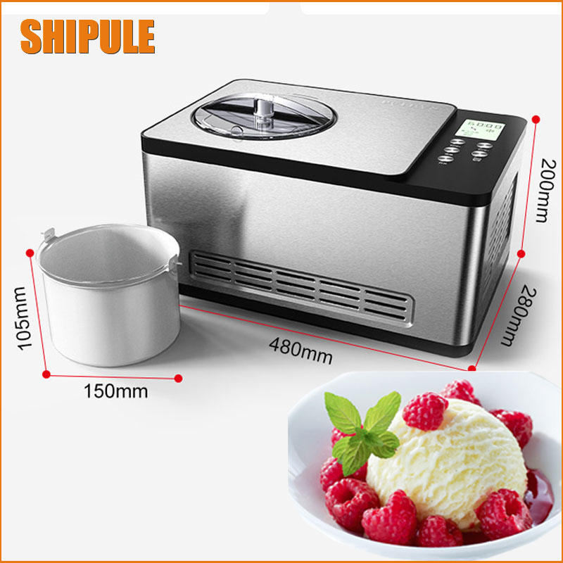 Multi-functional Ice Cream Maker Mini Home Electric Frozen Yogurt Maker Automatic Sorbet Making Machine Cool Summer 1.5L commercial automatic ice maker household electric bullet round ice making machine 15kg 24h family small bar coffee teamilk shop