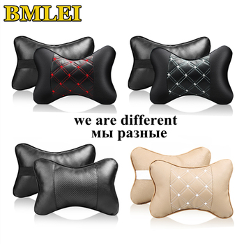 Both Side PU Leather Car Neck Pillow Breathable Uinversal Car Seat Head Neck Rest Cushion Headrest Auto Interior Accessories image
