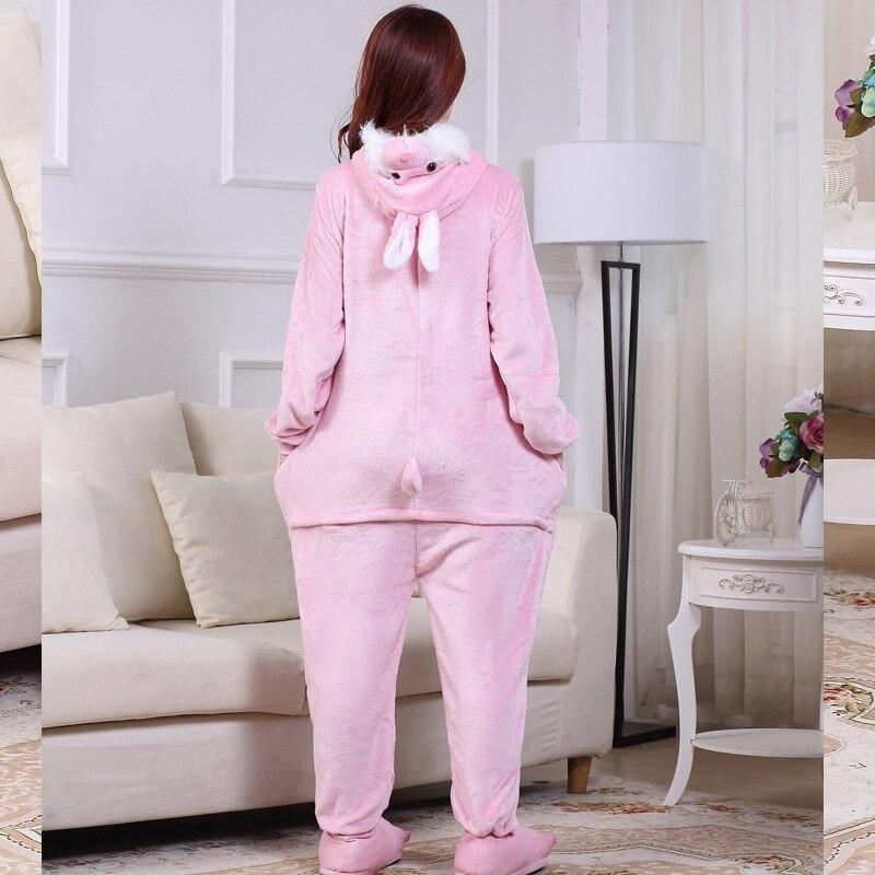 Cute Pink Bunny Cartoon Animal Hooded Long Sleeve Onesie Adult Winter animal pajamas Rabbit For Women Cosplay Sleepwear (2)