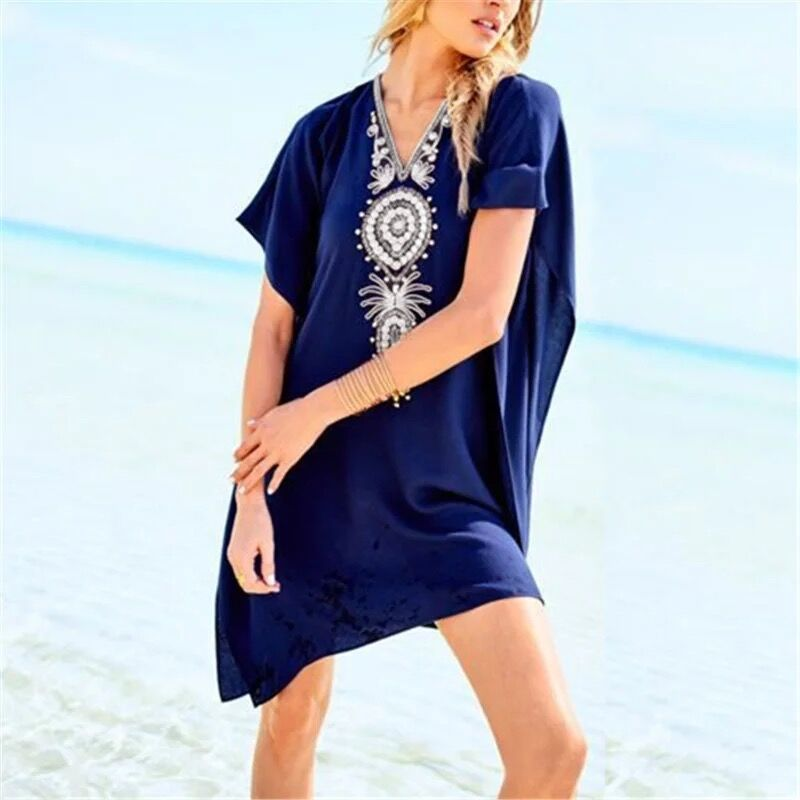 Summer Sexy Womens Tasseks Bikini Cover Up Kaftan Beachwear Beach Loose Dress Ladies See through Cover Ups Mini Dresses in Cover Ups from Sports Entertainment