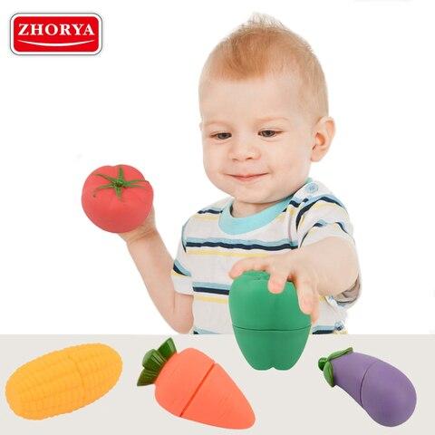 zhorya 5 pcs set plastico ambiental frutas legumes corte brinquedos de desenvolvimento precoce e educacao