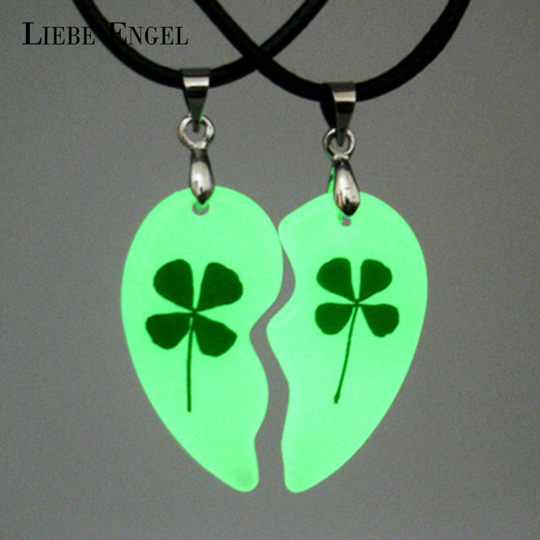 2pcs Lovers Necklace Jewelry Clover Luminous Couple Necklace Heart Shape Necklace Gifts Glowing In The Dark