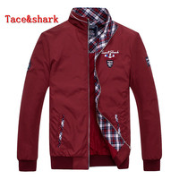 Jacket Male Tace&shark Brand clothing Men jacket Zipper collar embroidery long sleeved jacket Rich billionaire