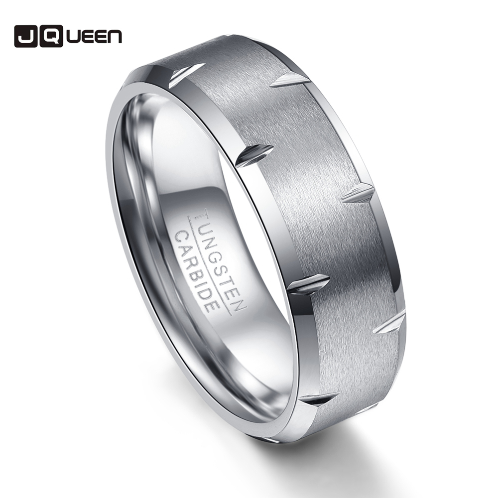 Scratch Scrub Exquisite 8mm Width Men Rings Tungsten Carbide Anillos para hombres Silver Fashion Jewelry