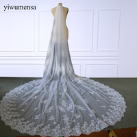 yiwumensa Luxury Mariage 4 M One Layer Lace Edge White Ivory Cathedral Wedding Veil Long Bridal Veil Cheap Wedding Accessories