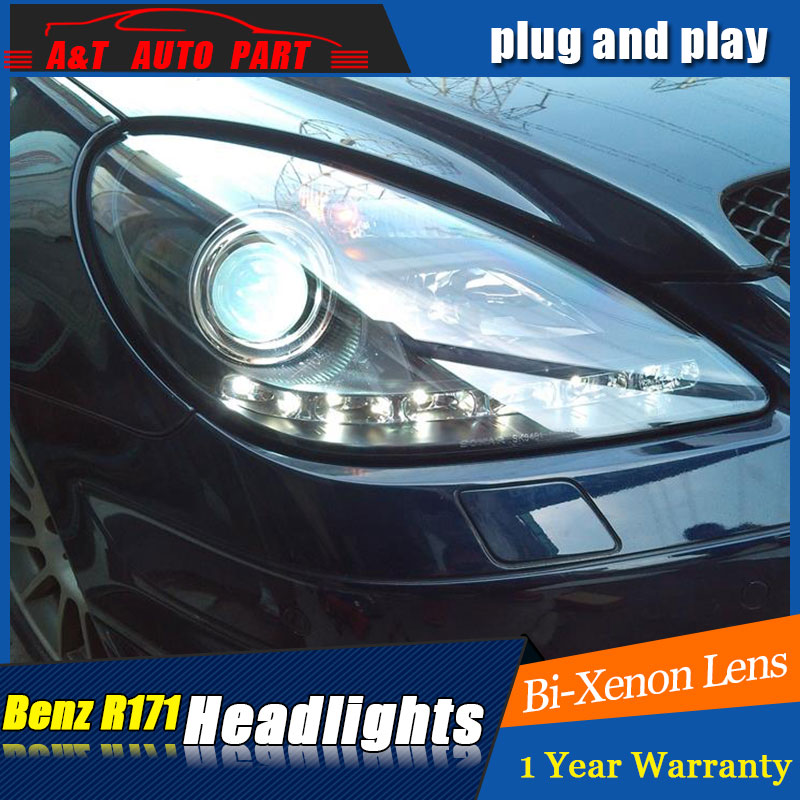 Auto Lighting Style LED Head Lamp for Benz R171 headlights for SLK200 SLK350 LED angle eyes drl H7 hid Bi-Xenon Lens low beam hireno headlamp for mercedes benz w163 ml320 ml280 ml350 ml430 headlight assembly led drl angel lens double beam hid xenon 2pcs