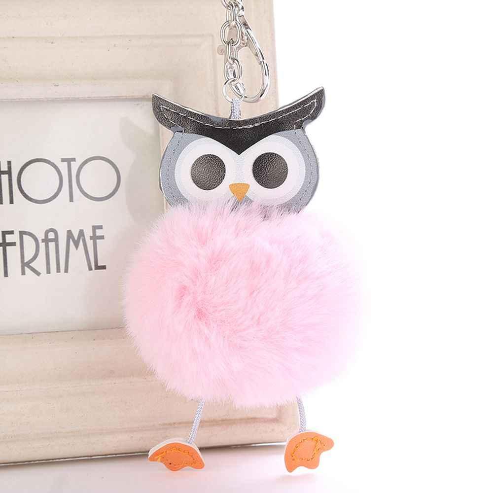 1Pcs NEW Cute Pompom Fluffy Owl Keychain Fashion Faux Rabbit Fur Ball  Animal Keyring Women Bag ca2ce7044483e