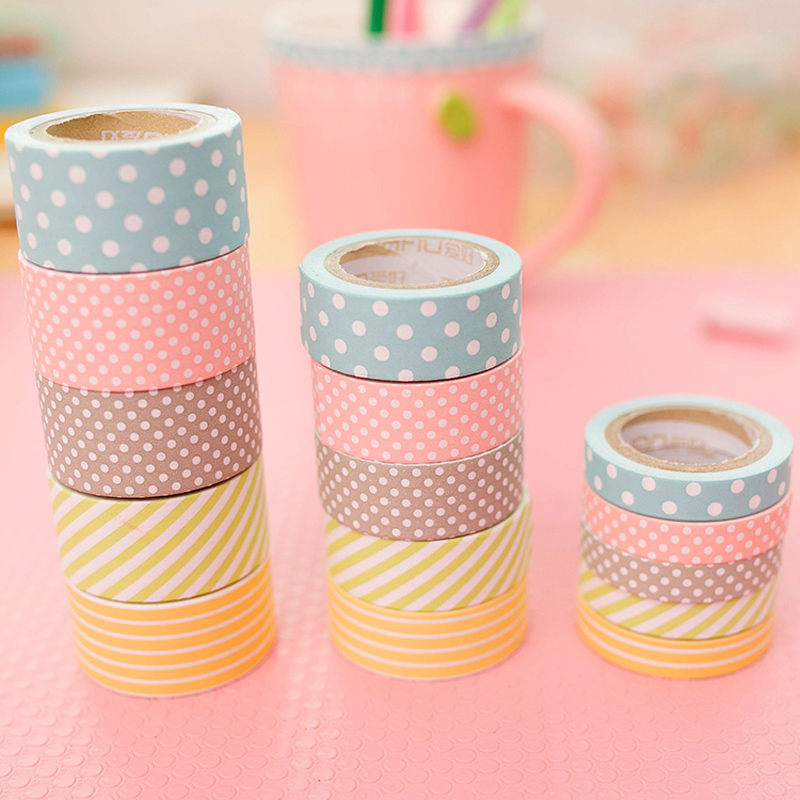 R25 5pcs/Set Candy Polka Dots Rainbow Paper Washi Tape Adhesive DIY Scrapbooking Sticker Label Masking Tape Correction Tape Gift