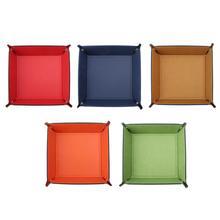 Складной Настольный ящик для хранения PU кожаный четырехсторонний лоток для игральные кости DND Ключ Монета коробка