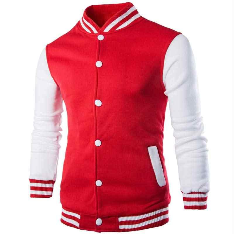 新しい男性/少年野球ジャケットの男性 2018 ファッションデザインワイン赤メンズスリムフィットカレッジ代表チームのジャケット男性ブランドスタイリッシュな Veste オム
