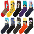 2016 Fashion Women Men Unisex Art Painting Cotton Crew Socks Funny Novelty Starry Night Vintage Retro Long Ankle Sock