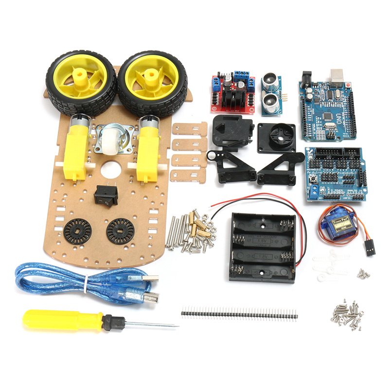 Best Deal DIY L298N 2WD Ultrasonic Smart Tracking Moteur Robot Car Kit For Arduino RC Robor Toys Boys Gift for nano rc robot open source maker obstacle avoidance diy humanity playmate 3d toys for otto kids best toys