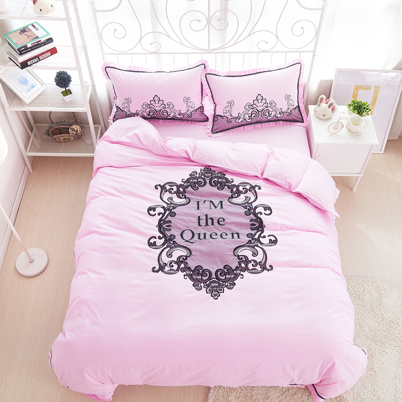 100 cotton lace bedding sets duvet cover bedspreads king size queen size bedding pink european