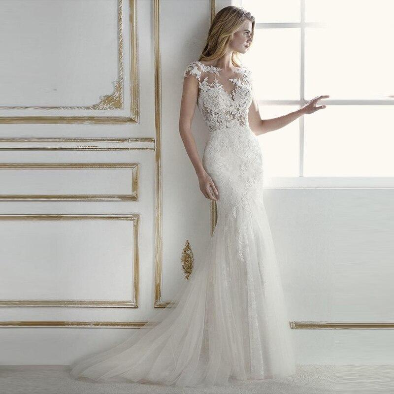 Robe de mariée sirène 2019 Appliques dentelle Tulle vestidos de novia encolure dégagée robe de mariée Cap manches dos nu robes de mariée