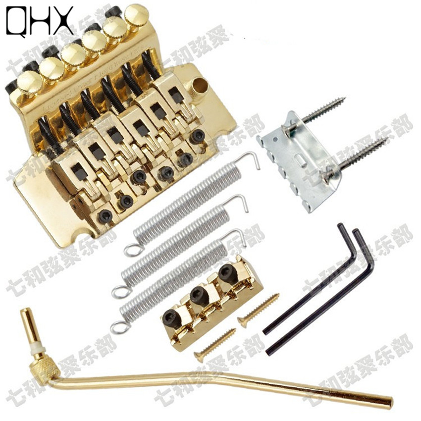 QHX left-hand Gold Floyd Rose Electric Guitar Bridge Guitar accessories Parts 6 Strings Bridge Musical instruments rubynovich серьги с подвесками кольцами