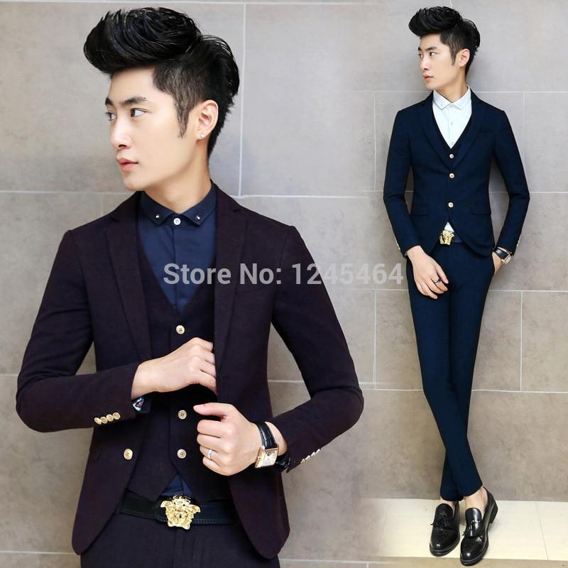 3 Colores Chaqueta + Pantalón + Chaleco trajes de hombre Slim Fit - Ropa de hombre