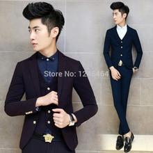 3 Colors Jacket+Pant+Vest men suits Slim Fit 2-button wedding Tuxedo Bridegroom suit Business suit set Fashion Suit Blazer