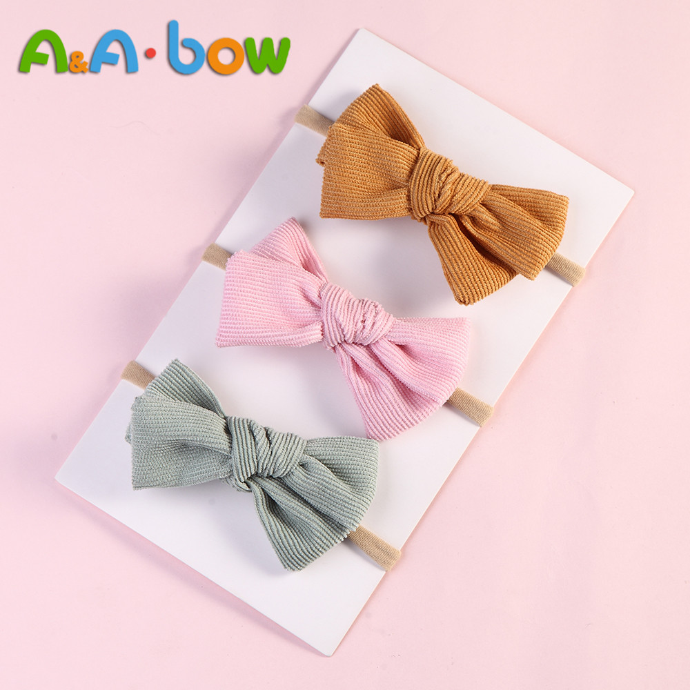 1pcs Corduroy Bow Headband For babys Lovely Bowknot Elastic Nylon headands Solid Headwear Head Band babys Hair Accessories in Hair Accessories from Mother Kids