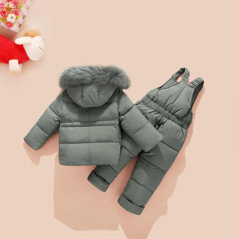 2019 Winter Children's Clothing Set Kids Ski Suit Overalls Baby Boys Down Coat Warm Snowsuits Jackets+bib Pants 2pcs/set 2-4T