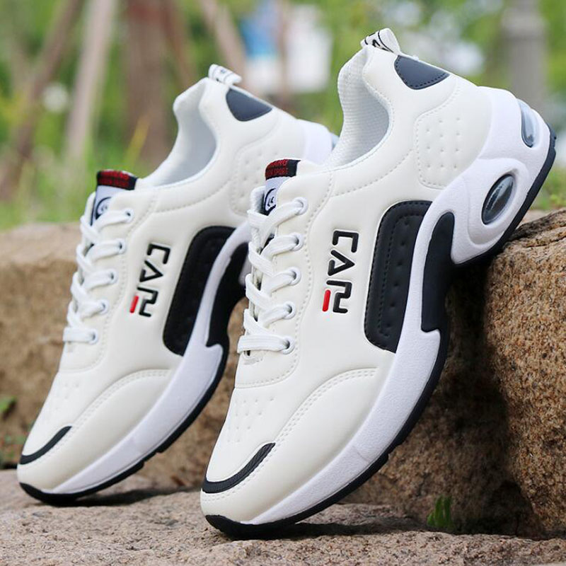 2019 New Men's Casual Shoes Shock Absorption Cushion Shoes Campus Wind Non-Slip Shoes Leather Stitching Men's Casual Shoes