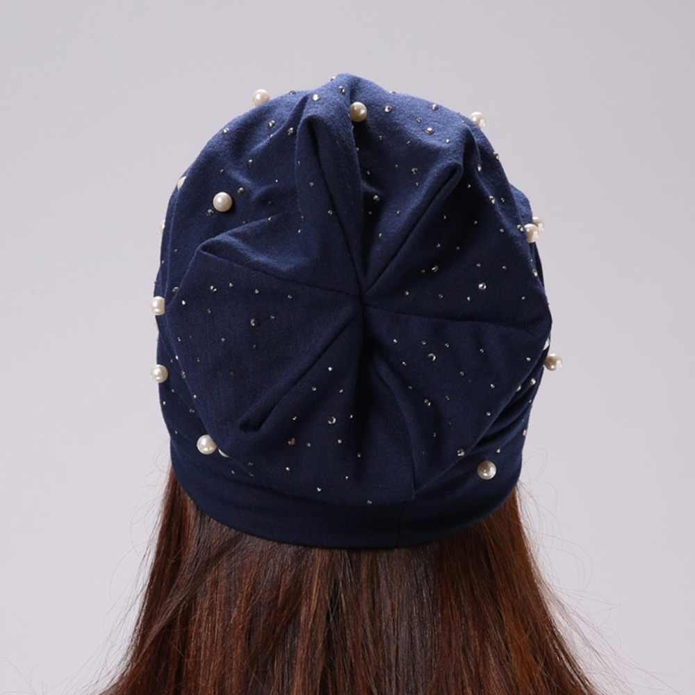 Geebro ماركة المرأة قبعة صغيرة البوليستر عادية تألق اللؤلؤ و الراين بيني للنساء الجمجمة قبعات صغيرة بونيه للإناث