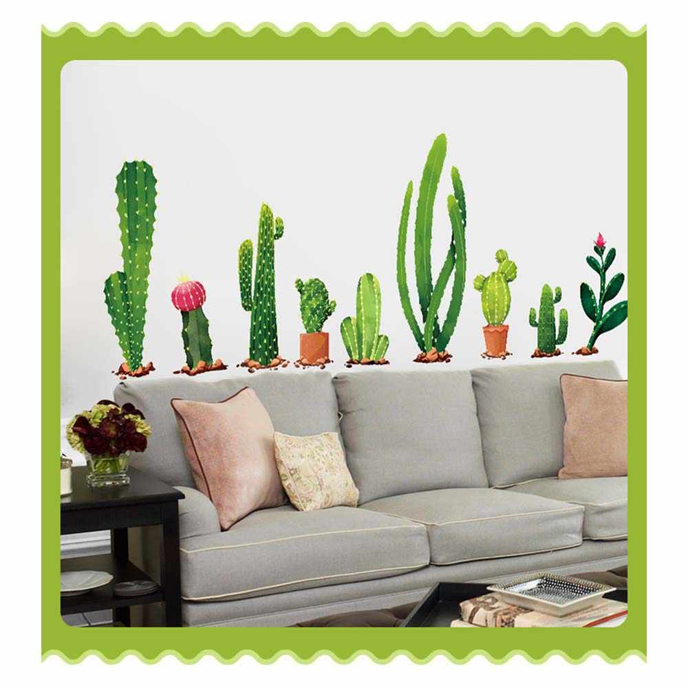 Cactus Plant Design Wall Sticker TV Sofa Art Background Wall Stickers Home Decor Living Room 3D Wall Decal Autocollant Mural
