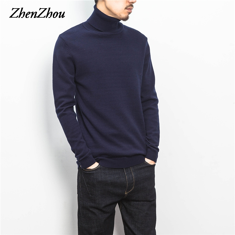 ZhenZhou Solid Slim Fit Pullover Men Knitwear Mens Sweaters 2019 M-5XL Knit Turtleneck Male Sweater Men Clothes