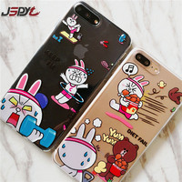 JSPYL Phone Cases For iPhone 6 6S 7 8 Plus Cartoon Rabbit Soft Silicone Transparent Cover For iPhone X Luxury Anti-knock Shell