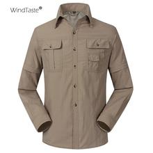 WindTaste, летние быстросохнущие мужские рубашки для улицы, дышащие, съемные, для спорта, рыбалки, походов, пеших прогулок, Мужская тонкая одежда KA080