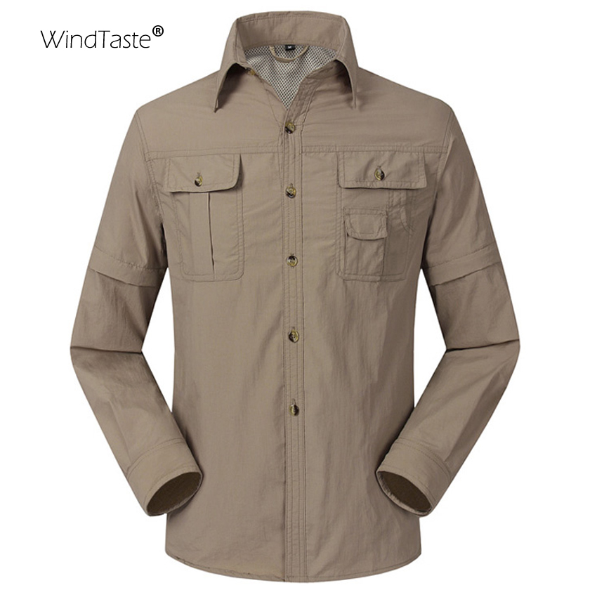WindTaste 2018 Summer Quick Dry Outdoor Men's Shirts Breathable Removable Sport Fishing Trekking Hiking Male Thin Clothing KA080