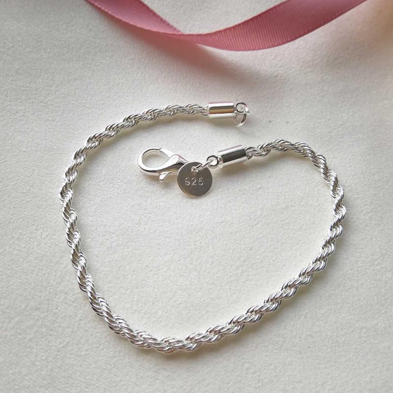Solid Silver 925 สร้อยข้อมือผู้หญิง 3mm Twisted Link สร้อยข้อมือกำไลข้อมือสายรัดข้อมือ Pulseira งานแต่งงานเจ้าสาวเครื่องประดับ Bijoux ของขวัญ