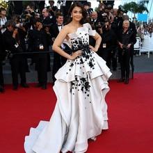 Каннский фильм высокий низкий белый и черный Aishwarya Rai красный ковер формальное платье знаменитостей вечерние платья Vestido de renda