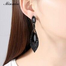 Minmin Vintage Black Crystal Drop Earrings for Women Rhinestone Vase Long Dangle Earrings Fashion Party Accessories MEH1034