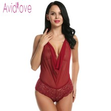 One Piece Lingerie Teddies Floral Lace BodySuit Plus Size