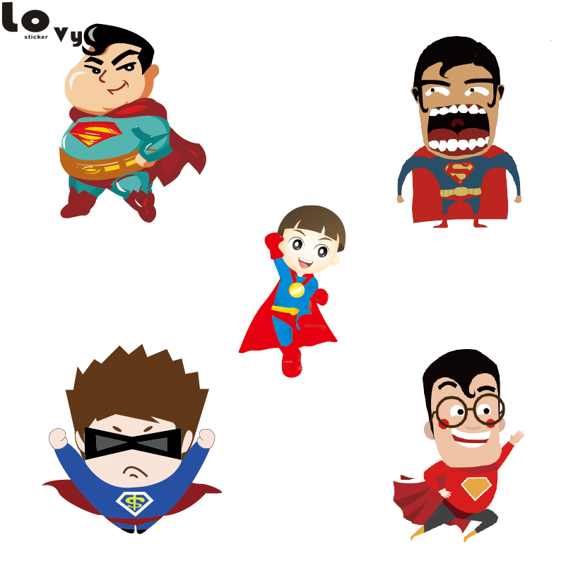 2049bf076 Cartoon Superman Wall Sticker Creative Printed Superhero Vinyl Wall Decal  for Kids Room Nursery Home Rooms Decor CW0139-in Wall Stickers from Home &  Garden ...