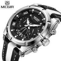 MEGIR C Hronographนาฬิกาสปอร์ตผู้ชายควอตซ์นาฬิกาข้อมือนาฬิกาแฟชั่นหนังกองทัพทหารนาฬิกาชั่วโมงเวลาRelógio Masculino