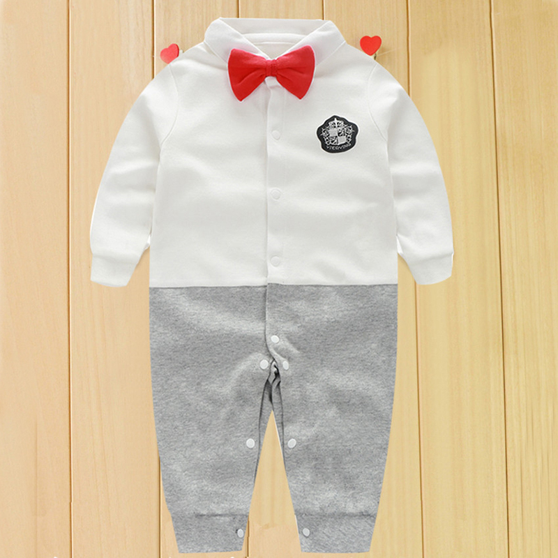 YiErYing Newborn Clothes 2018 Fashion Spring Autumn Party Bow Tie Gentleman Baby Boy Cotton Rompers Infant &Toddler Jumpsuits
