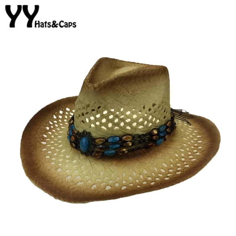 Amplia Curling sombrero vaquero de paja huecos occidental sombrero de  vaquero para caballero palabra occidental vaquera Jazz de paja Playa Sol  sombrero ... f5bd4630a21