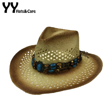Amplia Curling sombrero vaquero de paja huecos occidental sombrero de vaquero  para caballero palabra occidental vaquera Jazz de paja Playa Sol sombrero  ... e8c482ffe36