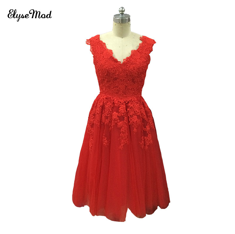 Real Photo Sweet   Cocktail     Dresses   2018 New V-Neck Bride Red Lace Short Prom   Dress   Plus Size Party Formal   Dresses