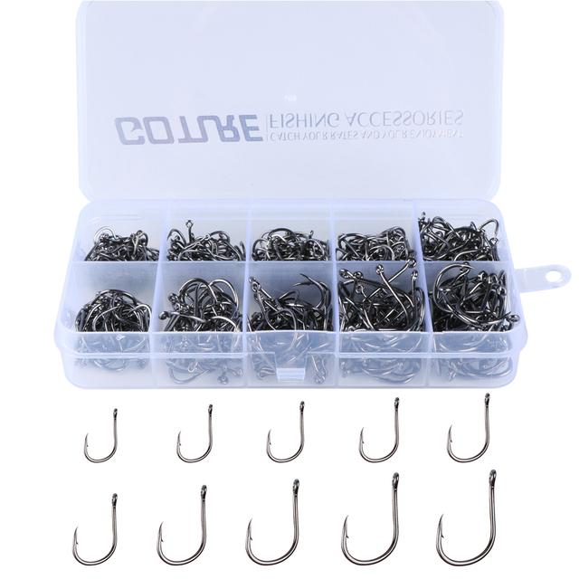 Goture 500pcs Carp Fishing Hooks Set Carbon Steel FishHook Fishing with Fishing Tackle Box 6# -15# 10 Sizes