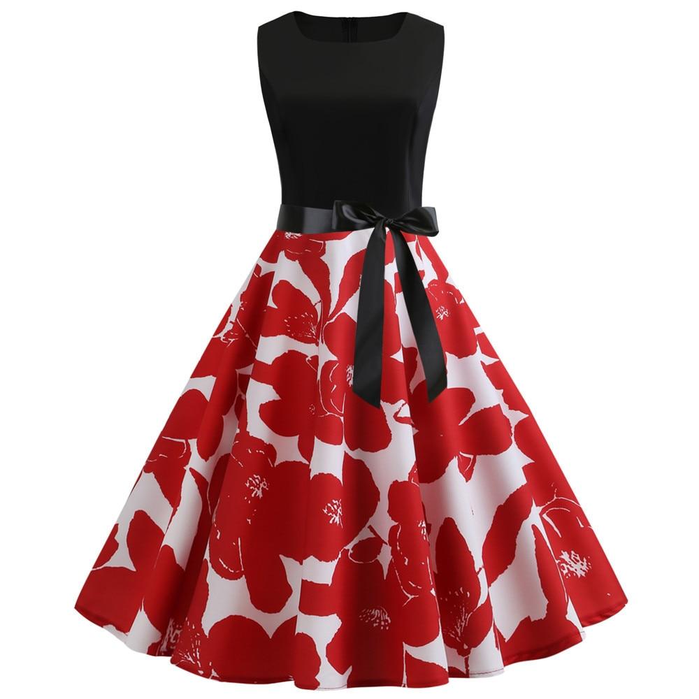 HTB1VF78bjzuK1RjSspeq6ziHVXak Women Summer Dresses 2019 Robe Vintage 1950s 60s Pin Up Big Swing Party Work Wear Rockabilly Dress Black Polka Dot Vestidos