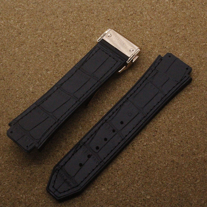 26mm lug 19mm silicone bottom watch strap rubber Leather watchband waterproof black with Rose gold buckle