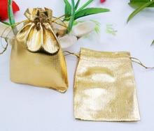 100 unids 9*12 cm bolso de lazo bolsas de mujer de la vendimia de oro para La Boda/Fiesta/de La Joyería/de la Navidad/bolsa de Envasado Bolsa de regalo hecho a mano diy