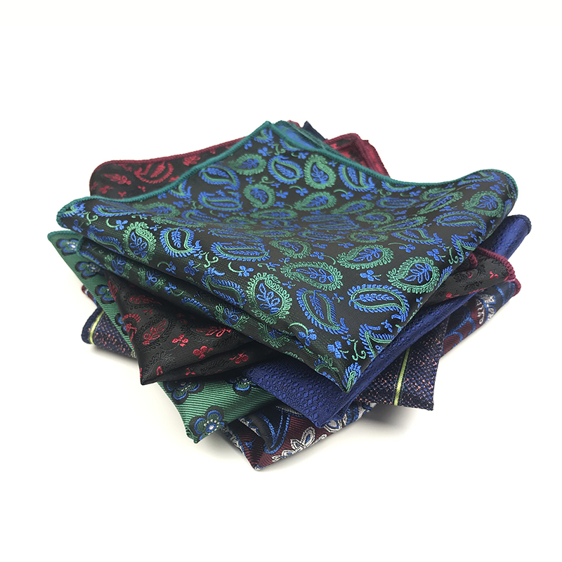 2019 New Arrived 100% Polyester Paisley Striped Solid Woven Pocket Squares For Men Matching Necktie Bowtie Available