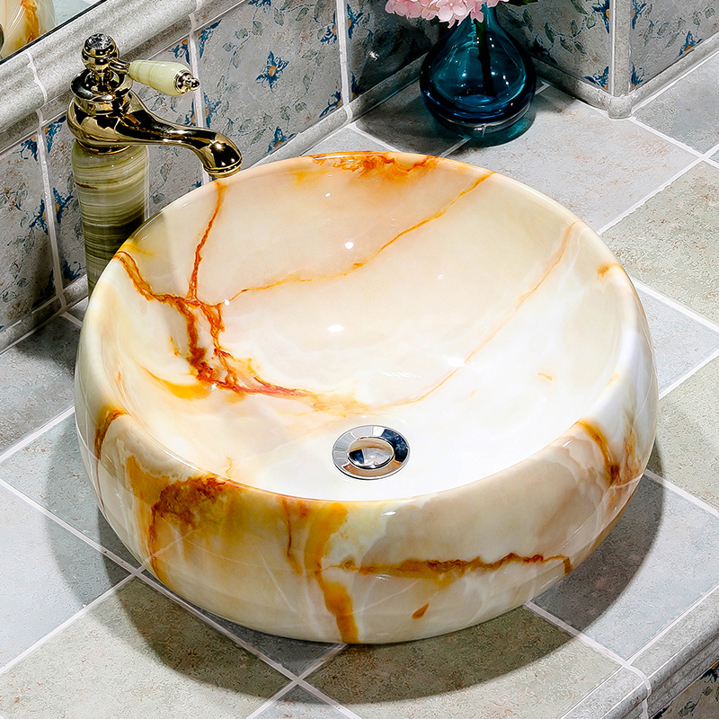 Фото High quality procelain sink marbling ceramic art wash basin